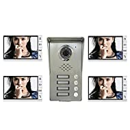 """AMOCAM Wired Video Door Phone Intercom System, 9"""" Monitor a full Aluminum Alloy Camera,IR night vision, Support Monitoring, Dual Way Talking Video Doorbell Kits, for 4 Units Apartment House"""