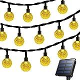 cuzile Außen Solar Lichterkette Garten Lichter, wasserdicht 22FT 30LED Kristall Ball solarbetriebene Lichterkette für Weihnachten, Baum, Haus, Urlaub, Zaun, Hof, Hochzeit, Terrasse Party Dekoration - gelb