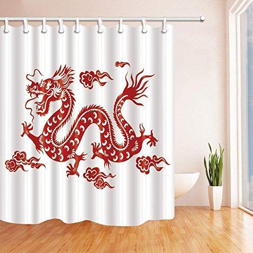 CDHBH Asiatischen Vorhänge Dusche für Badezimmer Rot Chinese Dragon Polyester-vor Weiß Hintergrund-Wasserdicht Bad Vorhang Vorhang für die Dusche Haken im Lieferumfang Enthalten