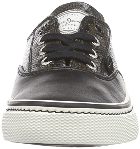 Pepe Jeans London Alford Brogue, Sneaker Basse Donna Nero (Schwarz (999BLACK))
