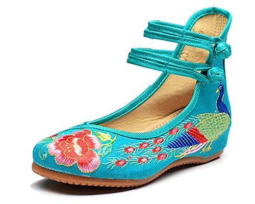 Minetom Damen Elegant Doppel-Bgel Ethnische Bestickte Schuhe Tanzschuhe Niedrigem Keil Ballerina Mary Jane Blumen Flache Grün EU 37 (Janes Mary Sportliche)