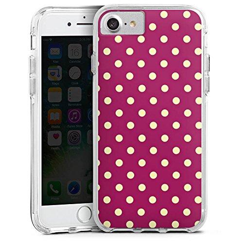 Apple iPhone 7 Bumper Hülle Bumper Case Glitzer Hülle Punkte Pattern Muster Bumper Case transparent