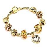 FGTYJ Amore Cuore Ciondola Il Braccialetto di Fascino per Le Donne con Amore E Perline di Cristallo d'oro Fit Bracciali Catena di Serpenti Gioielli Regalo