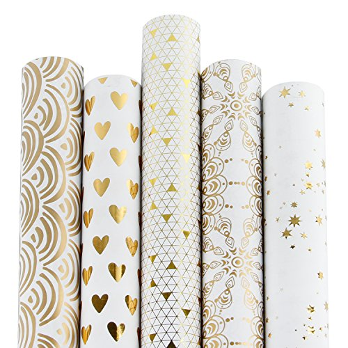 RUSPEPA 5 Rolle Geschenk Wrapping Paper Roll - Weiß Und Gold Folie Muster - 76Cm X 305Cm Pro Rolle