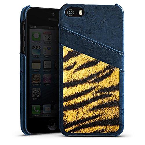 Apple iPhone 5s Housse Étui Protection Coque Animaux Aspect fourrure de tigre Motif Étui en cuir bleu marine