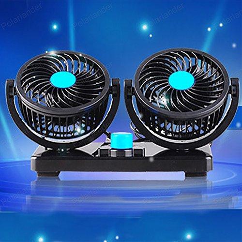 Car Fan Dual Heads Auto Fan 12 V Elektrischer Lüfter 360 Grad Manuelle Drehung Zwei Geschwindigkeiten Einstellbar mit Zigarettenanzünder Plug in.