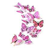 TUPARKA 36 pezzi Farfalle 3D parete adesivi farfalle Ragazze accessori per la camera da letto, rosa
