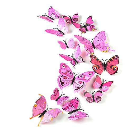 TUPARKA 36 Stück 3D Schmetterlinge Deko Schmetterling Wanddeko Butterfly Wandsticker 3D Wandtatoo Schmetterlinge Balkon Deko (Rosa)