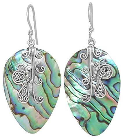 ERCE Paua/ Abalone Muschel Ohrringe Tropfen, 925 Sterling Silber Schmetterling, Länge 6 cm im Geschenketui, Handarbeit