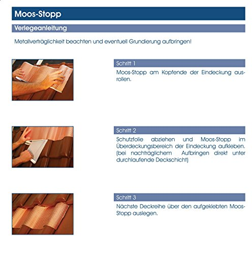 Anti Moos, Moos Stop, Dachentmoosung, Kupferband 5 mtr. lang, 19 cm breit