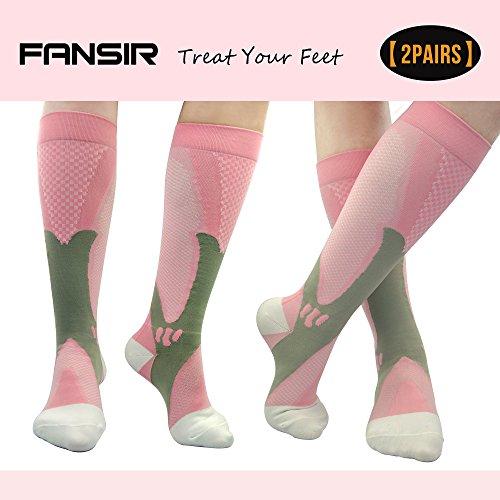 (2 par) Calcetines de compresión para hombres y mujeres, FANSIR BEST Graduated Athletic Fit para correr, Enfermeras, Shin Splints, Flight Travel y embarazo de maternidad. Aumenta la resistencia, la c (XXL Rosado)