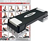 POWRX Steppbrett Höhenverstellbar inkl. Workout Stepper Step Trainer Aerobic Stepper Stepbench Bis...
