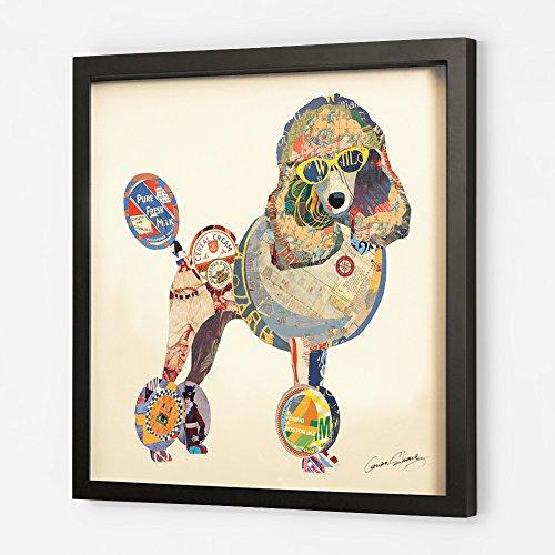 KunstLoft Trendiges Bild Frame Art 3D 'Provokanter Pudel' 61x61cm | Handgefertigte Vintage Wanddeko aus Papier | Pudel Hund Bunt Abstrakt | Wandbild Collage Art Moderne Kunst Retro im Bilderrahmen -