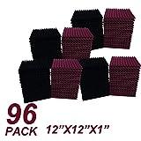 Pannelli fonoassorbenti in schiuma, colore bordeaux/nero, 96 pezzi, 30,5 x 30,5 x 2,5 cm
