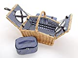 4 Personen Picknickkorb aus Weide Blau Weiß gestreift - 26tlg. mit Passender Decke, Keramik Geschirr und Kühlfach - Picknickkoffer Set
