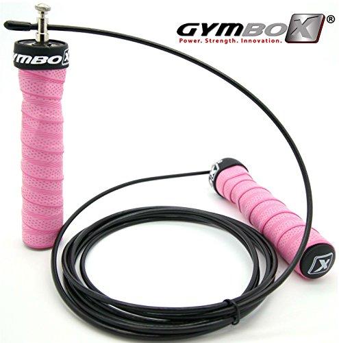GYMBOX [Profi Springseil Pink] Speed Rope Kugellager Anti-Rutsch Griffe Seilchen Springen HIIT Training Workout Seil (pink)