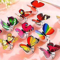 Idea Regalo - Colleer 12 Pezzi 3D Farfalle Adesivi Murali LED Decorativi Arte Adesivi da Parete DIY Multicolori Decorazione Casa Domestica