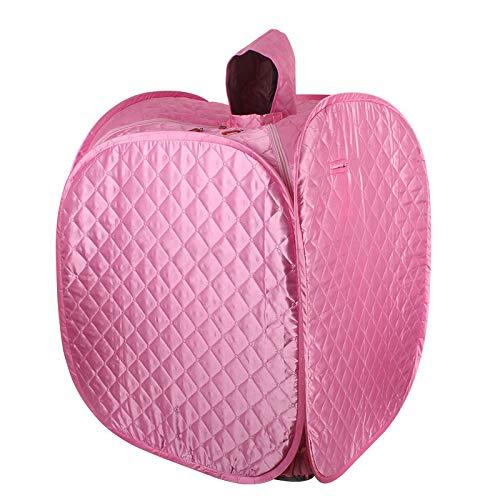 HIXGB Tragbare Saunakabine,Haushalt Falten Detox Fumigation Spa Gewichtsverlust Sauna Zelt Mit Stühlen, Fußmassage Rad Und Rutschfeste Matte,80 * 80 * 100Cm / 31.50 * 31.50 * 39.37In,Pink