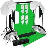MVpower Kit d'Eclairage Continu pour Photo Studio 2xSoftbox 70*50cm Boite a Lumiere, 4x Eclairage Parapluie Blanc Noir, 4x 135W 5500K E27 Lampe Ampoule, 3x 2 * 1.6m Toile Tissu de Fond(Blanc Noir Vert), Suport Trépied, Pied de Lampe Reglable(68-200cm) avec Sac de Transport