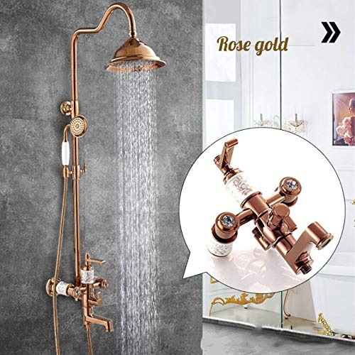 Spray Gold Trim (BILLY'S HOME Luxus-Messing-Duschsystem, Rain Mixer Duschkombo-Set, vergoldeter Duschhahn mit Tub Spout Verstellbarer Schieberegler, polierter Chrom, Gold,Rosegold)