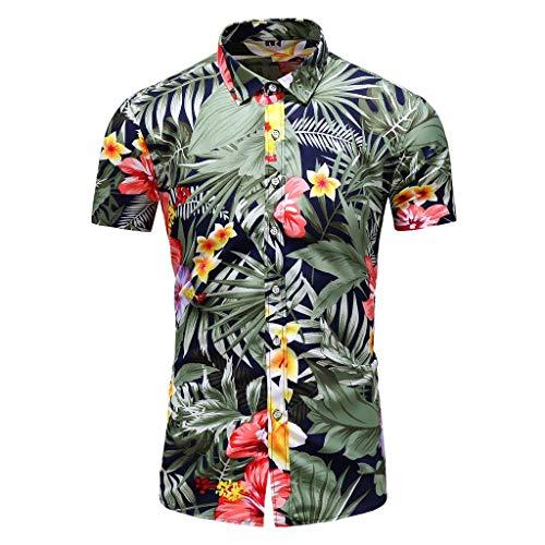 Herren Hemd Kurzarm Sommer Hawaiihemd Hawaiishirt Urlaub Hemd Strandhemd Freizeithemd Hawaii-Print Kurzarmhemd CICIYONER
