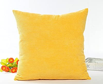 Westeng 1pc Soft Corn Kernels Corduroy Cushion Cover Pillow Throw Case Home Office Bar Decorative Square 45x45cm (Yellow) - low-cost UK light store.