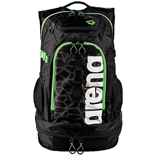 arena Unisex Profi Triathlon Rucksack Fastpack 2.1 für Schwimmer und Triathleten (11 Fächer, 40x35x55cm), Black X-Pivot-Fluo Green (506), One Size