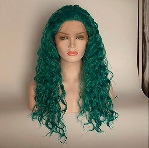 OOARGE PerüCke Frau Lange Locken GrüN Farbe HochtemperaturbestäNdig Wire Rose Net Kopf Sets Cosplay , Green