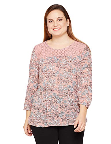 oxolloxo Plus Size Women Round Neck Dusty Pink Printed Top 3/4th Sleeves