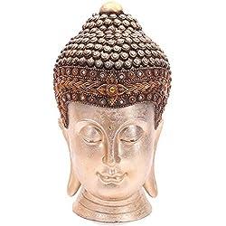 Puckator bud264gran cabeza de Buda resina marrón/dorado, 24x 22x 36,5cm
