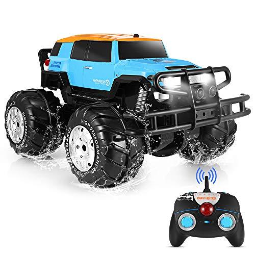 Coche RC 1:10 Escala 2,4GHz RC Car 360° Rotación de Alta Velocidad Anfibio Vehículo Recargable Vehículo Eléctrico con Luz Regalo para Niños/Adultos