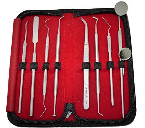beautytrackr-hygiene-dentaire-mesureurs-et-kit-de-miroir-fixe-9-pieces-dentaires-set-pincette-dentai