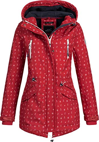 Sublevel Damen Softshell-Jacke Kurzmantel LSL-367 Anker-Alloverprint Bright red-White M