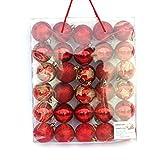 30 Große Weihnachtskugeln Glitzernd matt Christbaumschmuck bis Ø 6 cm Baumschmuck Deko Anhänger (Rot)