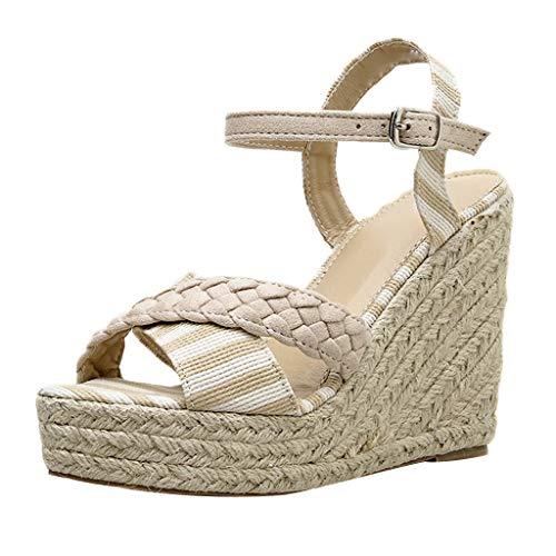 9d8db492f LuckyGirls Wedge High Heels Women Pumps Buckle Strap Striped Cross Platform  Peep Toe Shoes