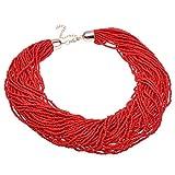 Jerollin Damen Perle kurz Blogger Kette aus Rot Perle Halskette Anhaenger Bib Kette Choker Collier Halsreif weihnachten geschenk