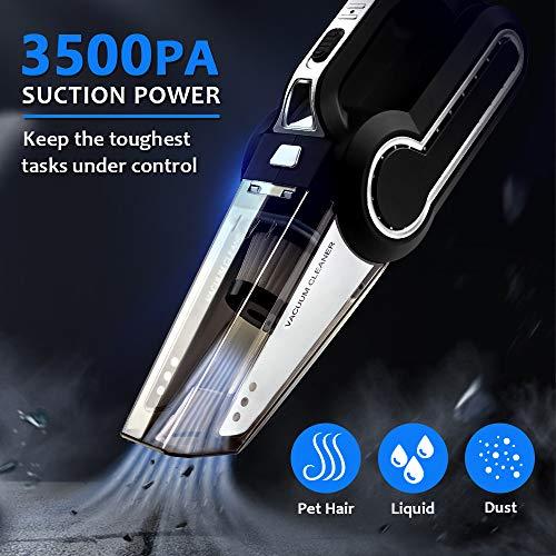 Blusmart Handstaubsauger Akku Staubsauger Kabellos mit LED Licht, 12V 120W Nass/Trocken Auto-Staubsauger mit Starker Saugkraft