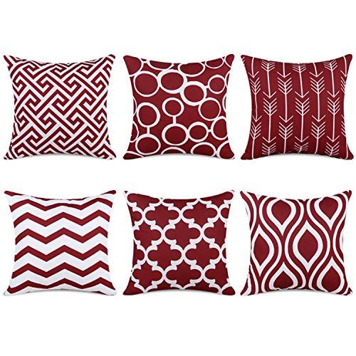 Topfinel federe cuscini gatto in cotone lino morbidi quadrati decorativi in divano letto sedia 40x40cm,6pezzi-vino