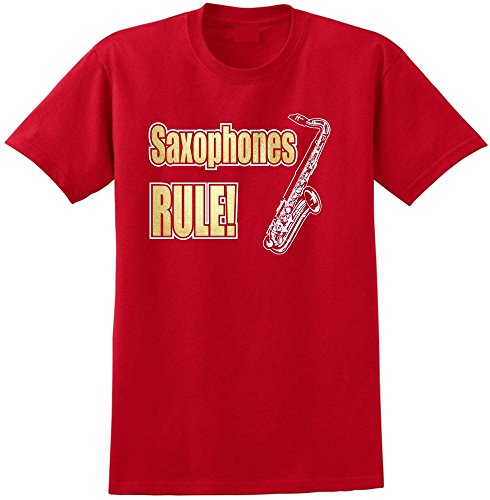 Saxophone Sax Tenor Rule - Red Rot T Shirt Größe 87cm 36in Small MusicaliTee