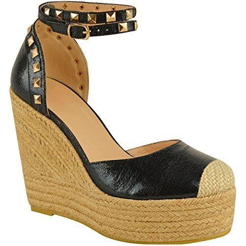 Nuovo donna alto tacco con zeppa sandali con plateau cinturino alla caviglia, estivo espadrillas taglia - nero similpelle pieghe, 39