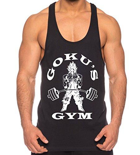 Goku Golds Camicia Muscolare Canotta da Uomo One Goku Dragon Master Son Ball Vegeta Turtle Roshi Piece Gym Farbe2Schwarz;Größe2M