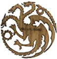 "Game of Thrones House Targaryen ""Fire and Blood"" Wooden Three- headed Dragon Sigil"