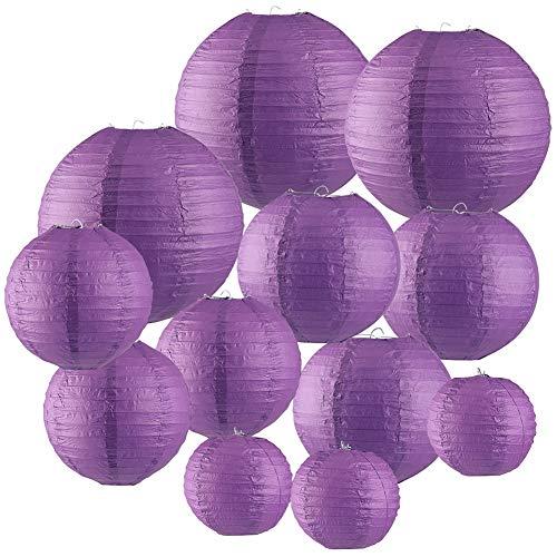 Papierlaterne 12 Stück Purpurrote Papier Lampions Schöne Hochzeit Deko Papierlampe rund Papier Laterne Lampenschirm Garten Party Dekoration Ballform (verschiedene Größen)