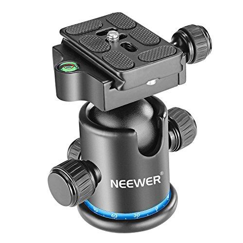 Neewer Pro Metall Stativ Kugel Kopf 360 Grad Rotation Panorama mit 1/4 Zoll Schnell Schuhplatte, Blase Niveau für Stativ, Monopod, Slider, DSLR Kamera Kamcorder bis zu 8 Kilogramm (Blau+Schwarz)