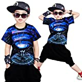 Moyuqi Estate Hip Hop Abbigliamento per Bambini, Ragazzi Ragazza Bambino Manica Corta Danza Jazz Costume Abbigliamento, 160 cm