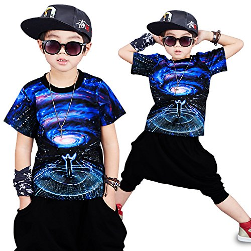 Für Jungen Hip Kostüm Hop - Moyuqi TM Sommer Hip Hop Kleidung Kinder Set Jungen Mädchen Jazz Dance Kinder Kurzarm Kostüm Kleidung (120cm)