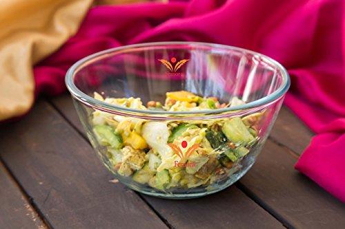 Femora Borosilicate Glass Dining, Tableware & Dinnerware Bowls Mixing Bowl Microwave Safe - 1050ml