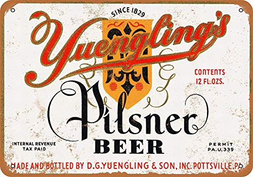mefoll 8x12 Metal Sign - Yuengling's Pilsner Beer - Retro Wall Decor Home Decor Funny Novelty Tin Sign Bar Decor -