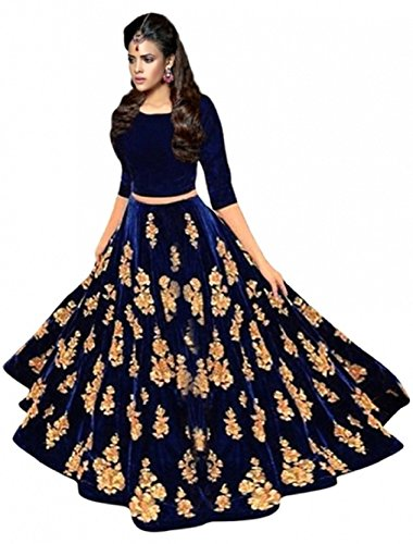 Arawins Women's Party Wear Bollywood Navy Blue Velvet Heavy Bridal Wedding Lehenga...