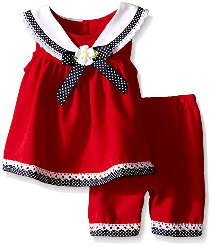 Bonnie Jean Baby Mädchen Sailor Matrosen Tunika Kleid + Hose Rot Weiß Blau (62-68) (Rare Editions Baby Kleider)